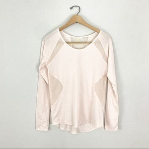 Zella Small Mesh Contour Athletic Top peach Pink